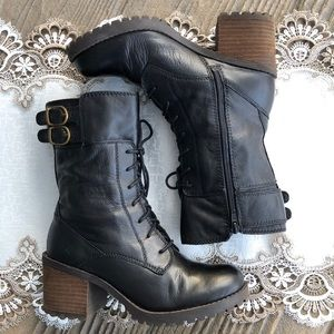 Lucky Brand Black Leather Lace Up Combat Boots